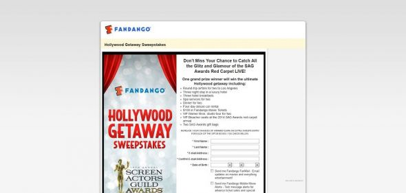 Fandango's Hollywood Getaway Sweepstakes