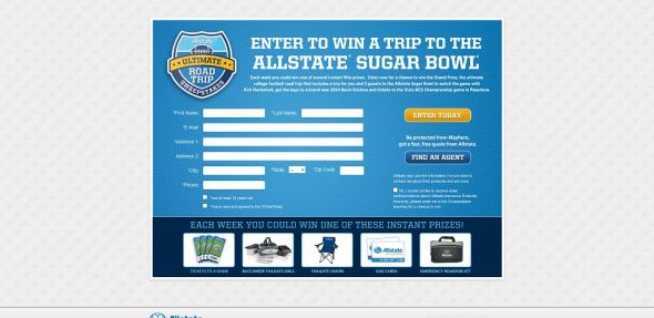 www.allstatecfb.com – Allstate Ultimate Road Trip Promotion