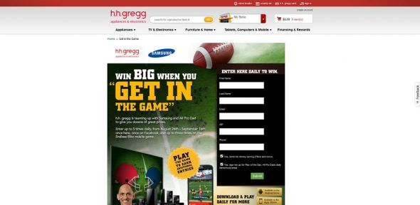 h.h. gregg Get in the Game Sweepstakes