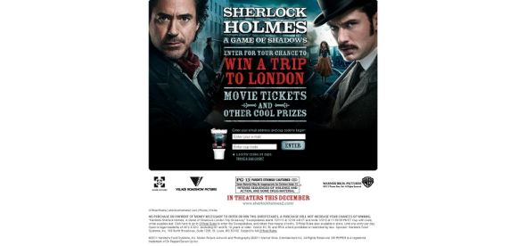 Hardee's Sherlock Holmes: A Game of Shadows London Trip Giveaway Sweepstakes
