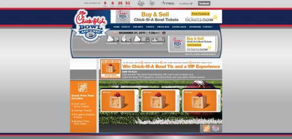 Chick-fil-A Bowl Home Depot Mystery Gift Card Giveaway