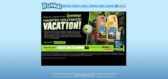 trumoo.com/goosebumps – TruMoo Goosebumps Haunted Hollywood Vacation Sweepstakes