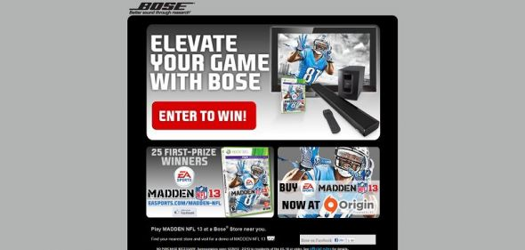 Bose EA SPORTS Madden NFL 13 Sweepstakes