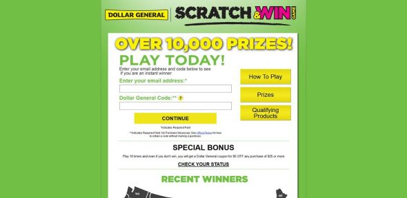 dgscratchandwin.com – Dollar General Scratch & Win Game
