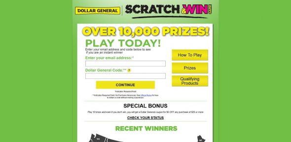 dgscratchandwin.com – Dollar General Scratch & Win Game