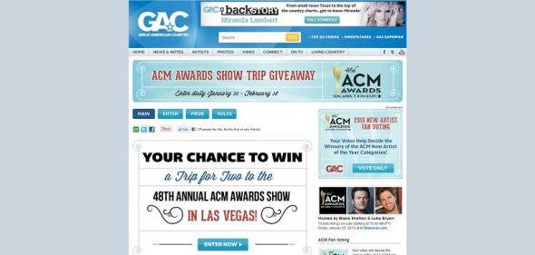 GAC ACM Awards Show Trip Sweepstakes