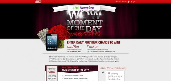 1-800 Flowers.com WOW Moment of the Day Sweepstakes