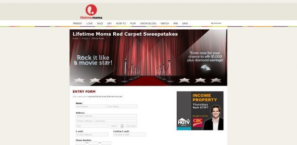 Lifetime Moms Red Carpet Sweepstakes