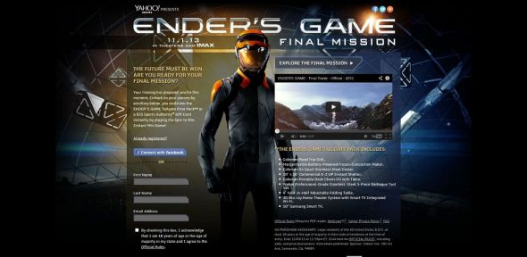 Yahoo!'s Ender's Game Final Mission Sweepstakes and Instant Win Game