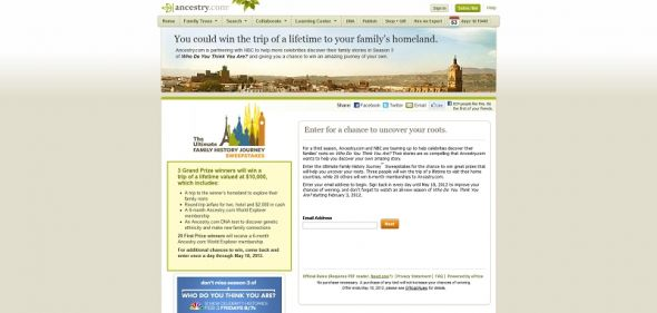 Ultimate Family History Journey Sweepstakes