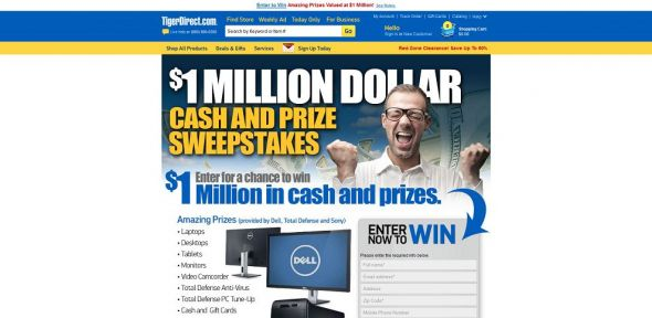 TigerDirect $1 Million Dollar Cash and Prize Sweepstakes