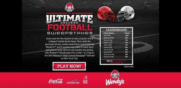 www.wendys.com/football – Coca-Cola & Wendy's Ultimate College Football Sweepstakes