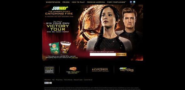 catchingfire.subway.com – SUBWAY The Hunger Games: Catching Fire Promotion