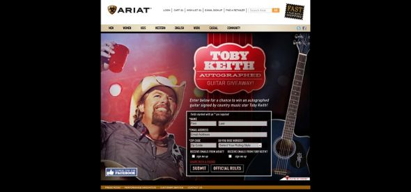 ariat toby keith guitar giveaway sweepstakes. Black Bedroom Furniture Sets. Home Design Ideas