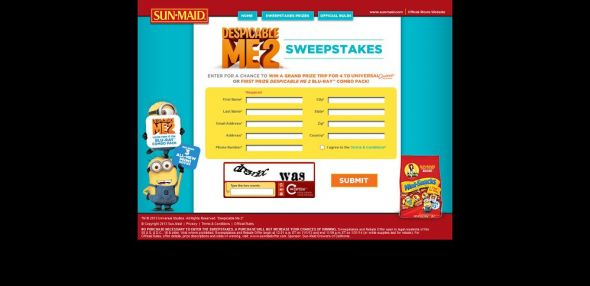 Sunmaid Despicable Me 2 Sweepstakes