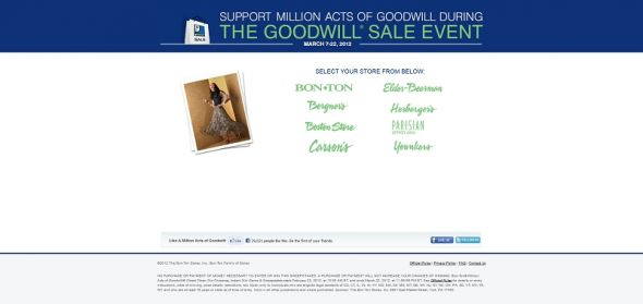 millionactsofgoodwill.com – Bon-Ton Million Acts of Goodwill Spin to Win Instant Win Game & Sweepstakes