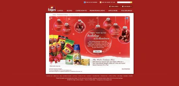 folgerscoffee.com/holiday – Folgers Wakin' Up Club Holiday Exclusives Promotion