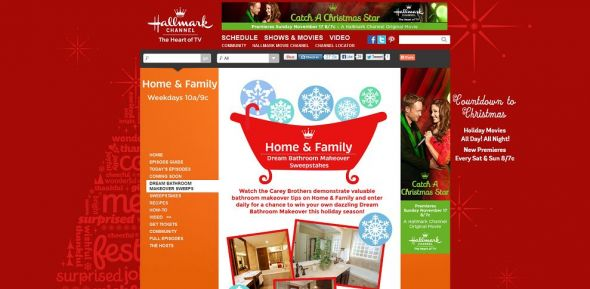 www.hallmarkchannel.com/homeandfamily – Hallmark Channel Home & Family Dream Bathroom Makeover Sweepstakes