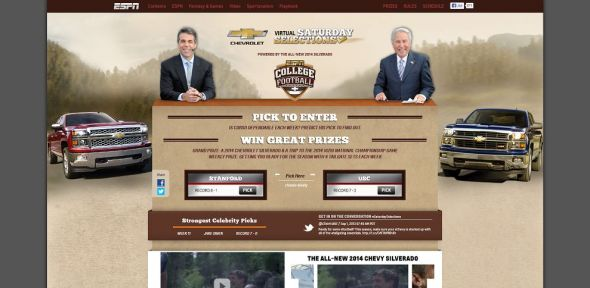 www.espn.com/chevrolet – Chevy Virtual Saturday Selection Sweepstakes