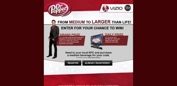 frommediumtolargerthanlife.com – 2013 Dr Pepper KFC From Medium to Larger Than Life Promotion