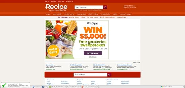 Recipe.com Free Groceries Sweepstakes