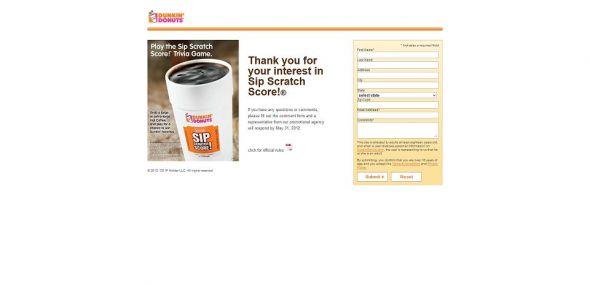 sipscratchscore.com – Dunkin' Donuts Sip Scratch Score Promotion