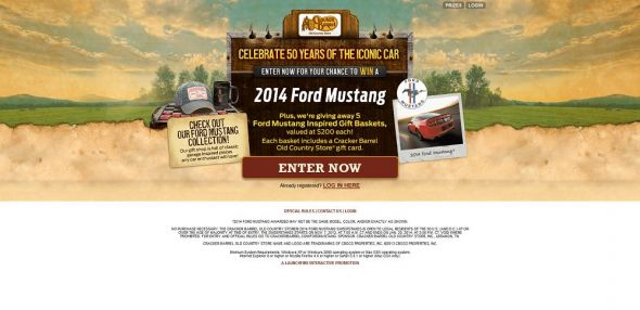 crackerbarrel.com/fordmustang – Cracker Barrel Old Country Store 2014 Ford Mustang Sweepstakes
