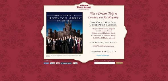 World Market's Downton Abbey Sweepstakes
