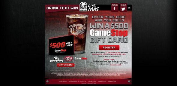 drinktextwinpromotion.com – Dr Pepper Taco Bell GameStop Drink. Text. Win. Promotion