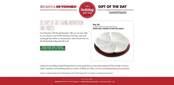 giftofthedaysweepstakes.com – Bed Bath & Beyond Gift of the Day Sweepstakes