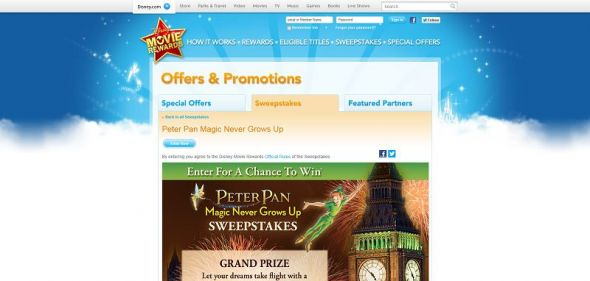 Peter Pan: Magic Never Grows Up Sweepstakes