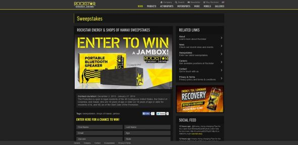 Rockstar & Shops of Hawaii Sweepstakes