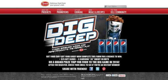 tysondigdeep.com – Tyson Dig Deep with Boneless Wings Promotion