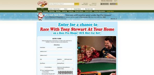 Bass Pro Shops Tony Stewart SCX Slot Car Race Sweepstakes