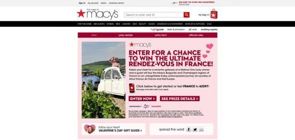 Macy's Ultimate Rendezvous to France Sweepstakes