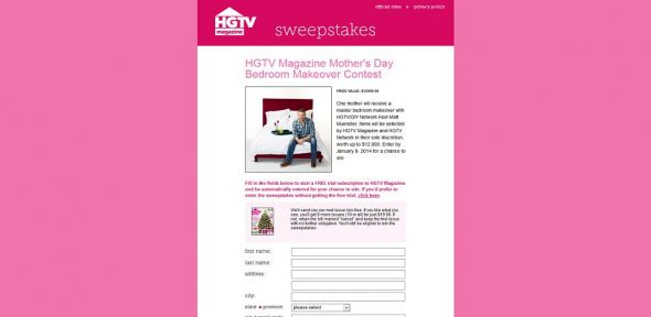 HGTV Magazine Mother's Day Bedroom Makeover Contest