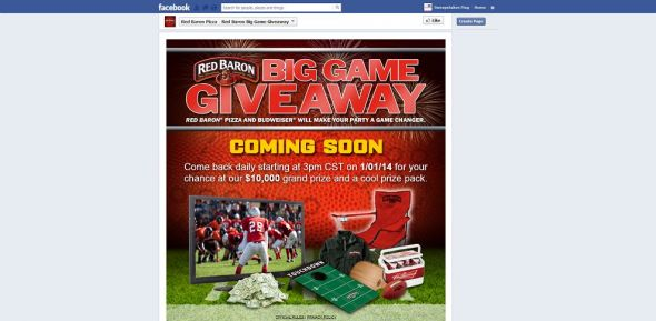 facebook.com/redbaronpizza – Red Baron Big Game Giveaway Sweepstakes