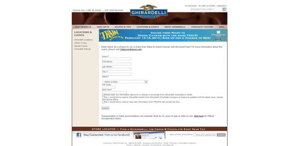 Ghirardelli Chocolate Company, Train & Sixthman Sail Across the Sun Sweepstakes
