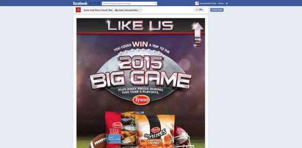 Tyson Any'tizers Snack Time BIG GAME Sweepstakes