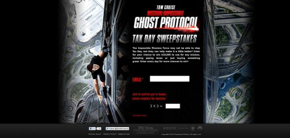Mission: Impossible – Ghost Protocol Tax Day Sweepstakes