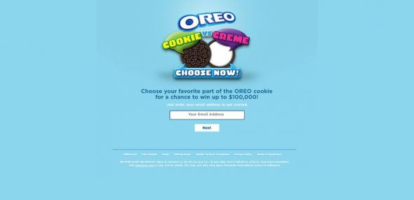 OREO Cookie vs. Crème Text To Win Instant Win Game And Sweepstakes