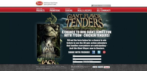 tysongiantflavortenders.com – Tyson Chicken Tenders and Jack the Giant Slayer Movie Ticket Giveaway