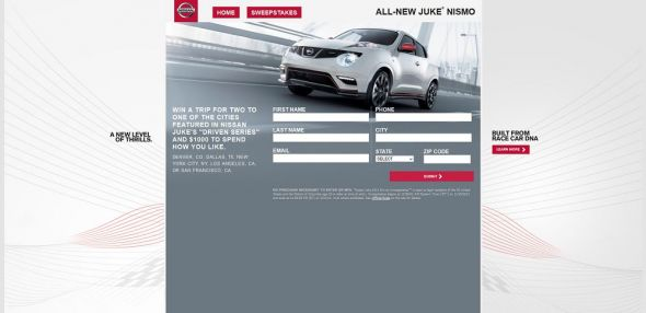 Complex Nissan Juke 2014 Driven Sweepstakes