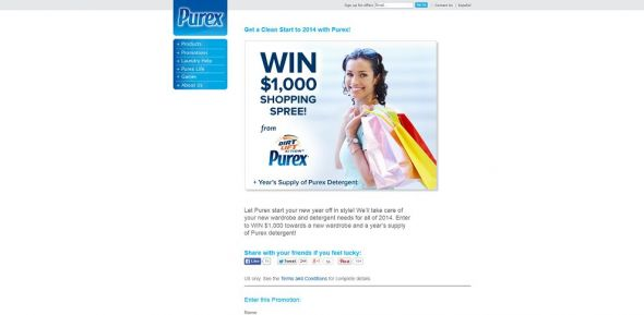 Get to a Clean Start to 2014 with Purex! Sweepstakes