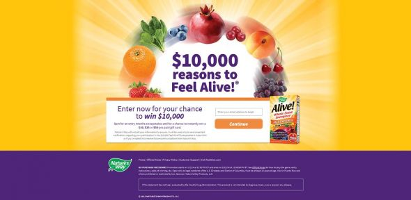 play.feelalive.com – $10,000 Feel Alive! Sweepstakes & Instant Win