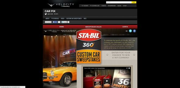 velocity.com/customcarsweeps – STA-Bil 360 Custom Car Sweepstakes