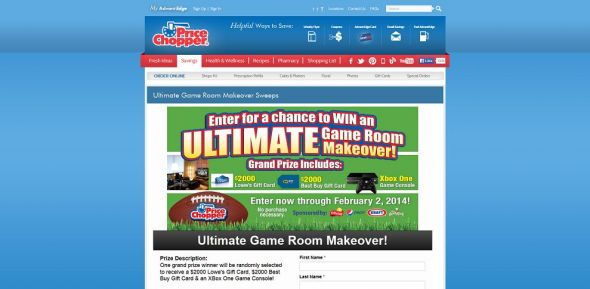 Price Chopper Ultimate Game Room Makeover Sweepstakes