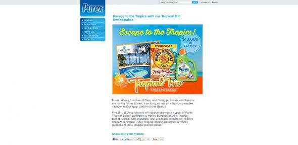Purex Tropical Trio Sweepstakes