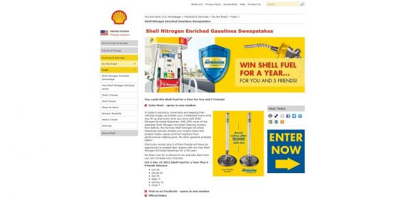shell.us/fuelpromo – Shell Nitrogen Enriched Gasolines Sweepstakes