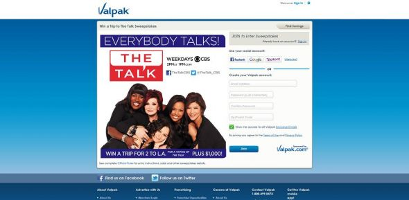 valpak.com/cbs – Valpak Win a Trip to The Talk Sweepstakes